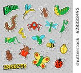 bugs and insects patches ... | Shutterstock .eps vector #628333493