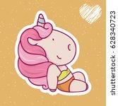 cute cartoon unicorn in... | Shutterstock .eps vector #628340723