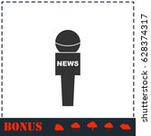 reporter microphone icon flat.... | Shutterstock . vector #628374317