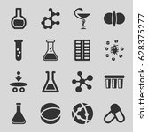 chemistry icons set. set of 16... | Shutterstock .eps vector #628375277