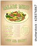 salads menu list vector design  ... | Shutterstock .eps vector #628376867