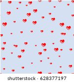 print with hearts  hearts drawn ... | Shutterstock .eps vector #628377197