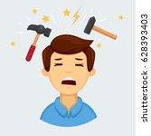 headache or migraine emoji  | Shutterstock .eps vector #628393403