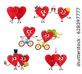 two hearts doing funny... | Shutterstock .eps vector #628397777