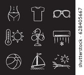 Summer Chalk Icons Set. Woman'...