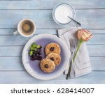 curd cheese pancakes ... | Shutterstock . vector #628414007