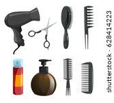 hair beauty salon equipment set.... | Shutterstock .eps vector #628414223