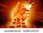 human heart with blood cells on ... | Shutterstock . vector #628414253