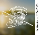 sturgeon fish with fishing rod... | Shutterstock .eps vector #628415333