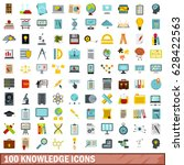 100 knowledge icons set in flat ... | Shutterstock .eps vector #628422563