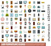 100 furniture icons set in flat ... | Shutterstock .eps vector #628422593