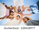 directly below shot of friends... | Shutterstock . vector #628428977