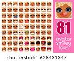 vector set 81 social media... | Shutterstock .eps vector #628431347