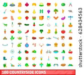 100 countryside icons set in... | Shutterstock .eps vector #628434563