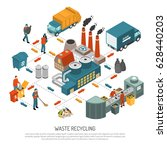 isometric garbage recycling... | Shutterstock .eps vector #628440203