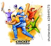 illustration of batsman and... | Shutterstock .eps vector #628449173