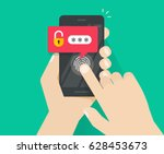 hands with smartphone unlocked... | Shutterstock .eps vector #628453673