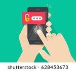 hands with smartphone unlocked... | Shutterstock .eps vector #628453673