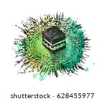 holy kaaba in mecca saudi... | Shutterstock .eps vector #628455977