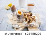 eggs for breakfast with toasted ... | Shutterstock . vector #628458203