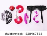 sex toys and accessories on... | Shutterstock . vector #628467533