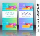 vector yoga cards with yoga... | Shutterstock .eps vector #628474457