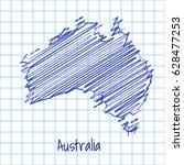 map of australia  blue sketch... | Shutterstock .eps vector #628477253