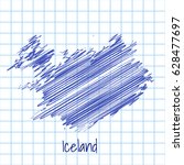 map of iceland  blue sketch... | Shutterstock .eps vector #628477697