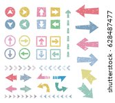 set of colorful stamp arrows  ... | Shutterstock .eps vector #628487477