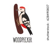 Cute Woodpecker In Flat Style...