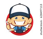 mechanic with circle shape   Shutterstock .eps vector #628497113