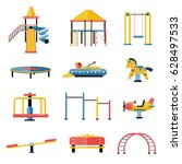 set of kids playground vector... | Shutterstock .eps vector #628497533