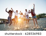 group of happy young people... | Shutterstock . vector #628536983