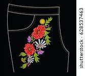 embroidery stitches for jeans... | Shutterstock .eps vector #628537463