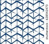 chevron batik indigo seamless... | Shutterstock .eps vector #628542473