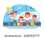 happy family is going on the... | Shutterstock .eps vector #628553777
