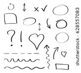 hand drawn arrows and circles... | Shutterstock .eps vector #628557083