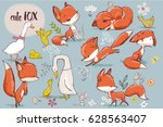 Stock vector set with cute fox and farm birds 628563407