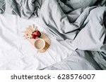 breakfast in bed with coffee... | Shutterstock . vector #628576007