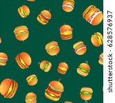 seamless pattern tasty burger... | Shutterstock .eps vector #628576937