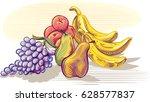 freshly picked ripe fruit. | Shutterstock .eps vector #628577837