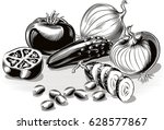 composition with tomatoes ... | Shutterstock .eps vector #628577867