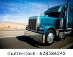 speeding freight truck on us... | Shutterstock . vector #628586243