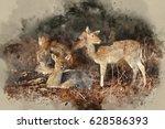 watercolor painting of herd of... | Shutterstock . vector #628586393