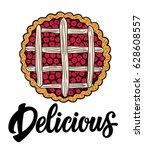 juicy cherry pie illustration...   Shutterstock .eps vector #628608557