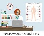 medical clinic reception... | Shutterstock .eps vector #628613417