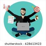 businessman with multitasking... | Shutterstock .eps vector #628613423