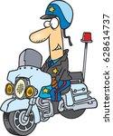 Cartoon Cop On A Motorcycle