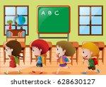 children walking in classroom... | Shutterstock .eps vector #628630127