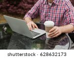 the young man travels and works ... | Shutterstock . vector #628632173